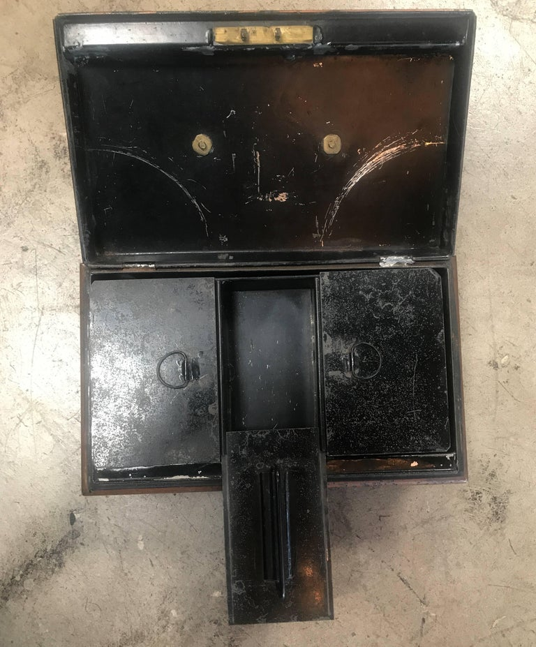 19th Century Italian Antique Safe Iron Box In Good Condition For Sale In Los Angeles, CA