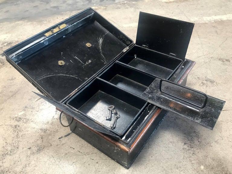 Brass 19th Century Italian Antique Safe Iron Box For Sale