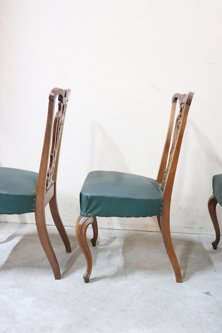 19th Century Italian Art Nouveau Hand Carved Walnut Wood Set of Eight Chairs For Sale 5