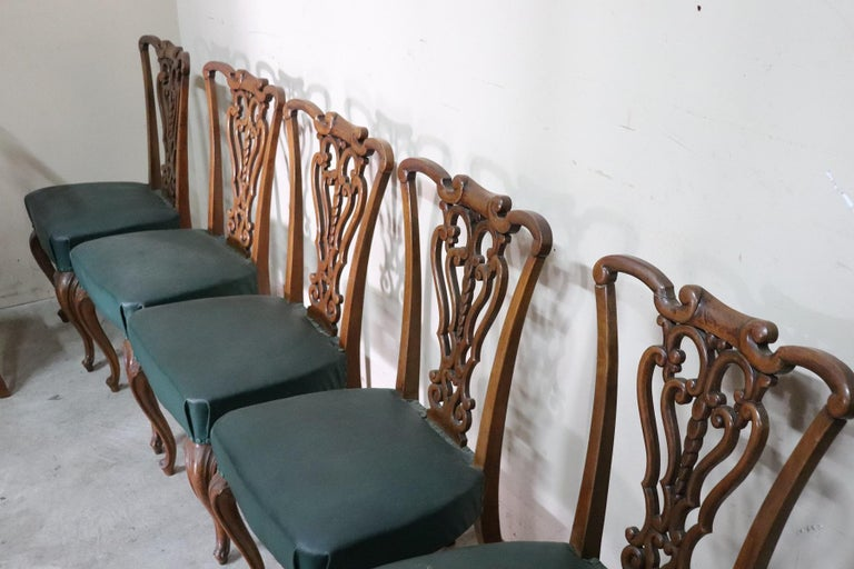 19th Century Italian Art Nouveau Hand Carved Walnut Wood Set of Eight Chairs For Sale 7