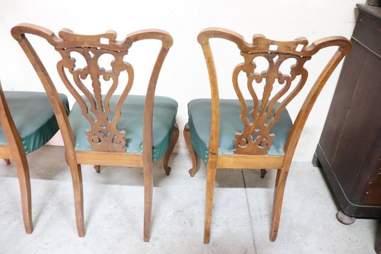 19th Century Italian Art Nouveau Hand Carved Walnut Wood Set of Eight Chairs For Sale 8