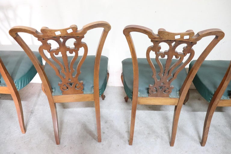 19th Century Italian Art Nouveau Hand Carved Walnut Wood Set of Eight Chairs For Sale 9