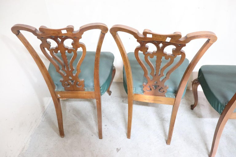 19th Century Italian Art Nouveau Hand Carved Walnut Wood Set of Eight Chairs For Sale 10