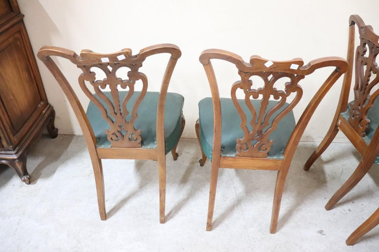 19th Century Italian Art Nouveau Hand Carved Walnut Wood Set of Eight Chairs For Sale 11