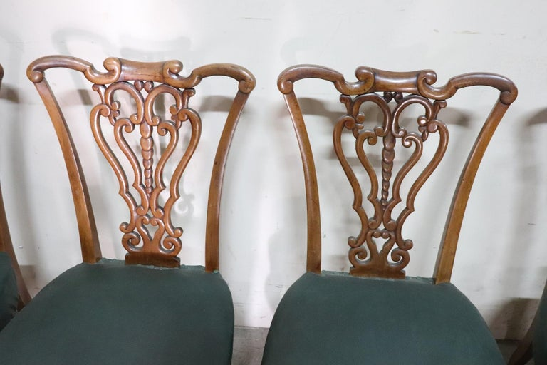 Hand-Carved 19th Century Italian Art Nouveau Hand Carved Walnut Wood Set of Eight Chairs For Sale