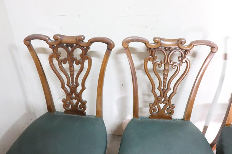 Late 19th Century 19th Century Italian Art Nouveau Hand Carved Walnut Wood Set of Eight Chairs For Sale