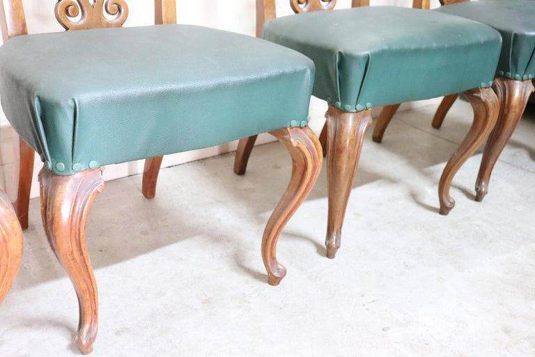 19th Century Italian Art Nouveau Hand Carved Walnut Wood Set of Eight Chairs For Sale 3
