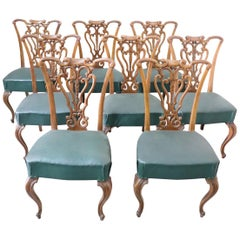 19th Century Italian Art Nouveau Hand Carved Walnut Wood Set of Eight Chairs