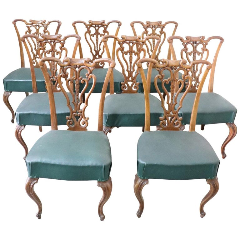 19th Century Italian Art Nouveau Hand Carved Walnut Wood Set of Eight Chairs For Sale