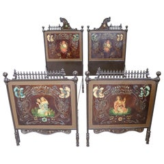 19th Century Italian Art Nouveau Hand Painted Iron Pair of Single Bed