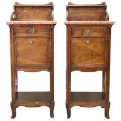 19th Century Italian Art Nouveau Walnut with Marble-Top Pair of Nightstand