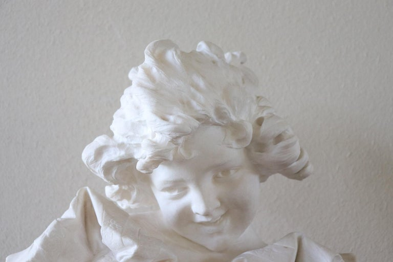 Carved 19th Century Italian Artist Carrara Marble Bust of a Child Sculpture by A Frilli