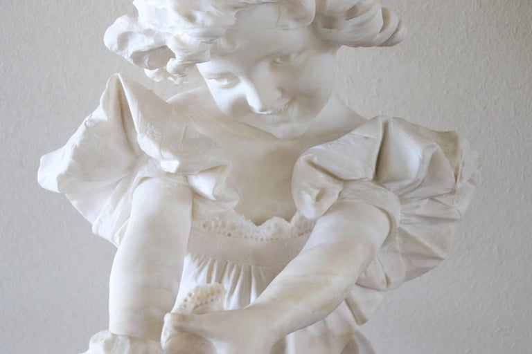 19th Century Italian Artist Carrara Marble Bust of a Child Sculpture by A Frilli In Good Condition In Bosco Marengo, IT