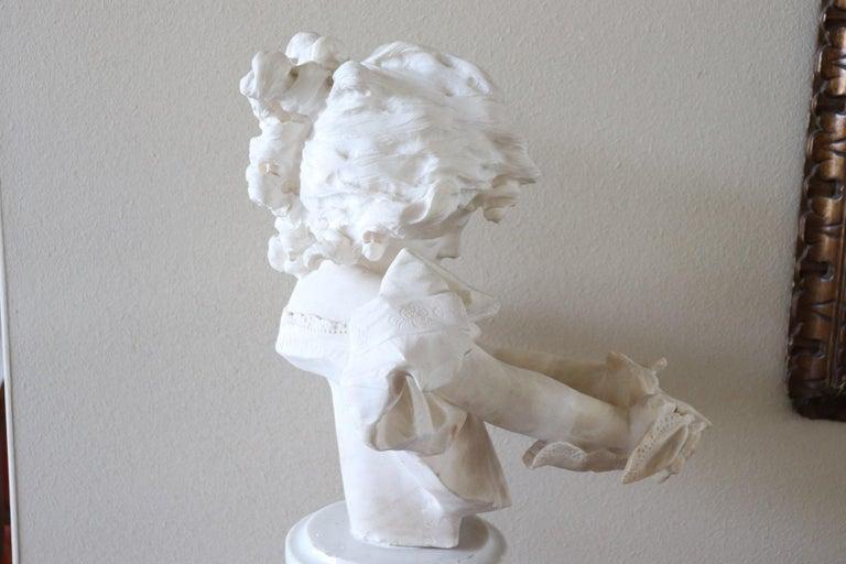 19th Century Italian Artist Carrara Marble Bust of a Child Sculpture by A Frilli 1