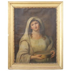 19th Century Italian Artist Portrait of the Vestal Tuccia Young Roman Girl