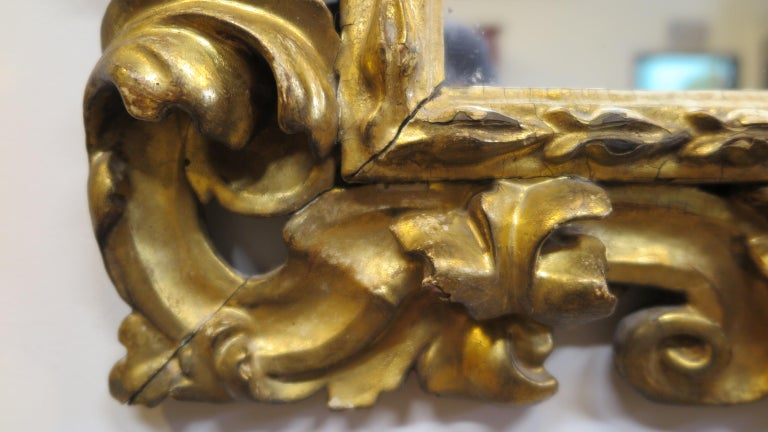 Hand-Carved 19th Century Italian Baroque Carved Mirror For Sale