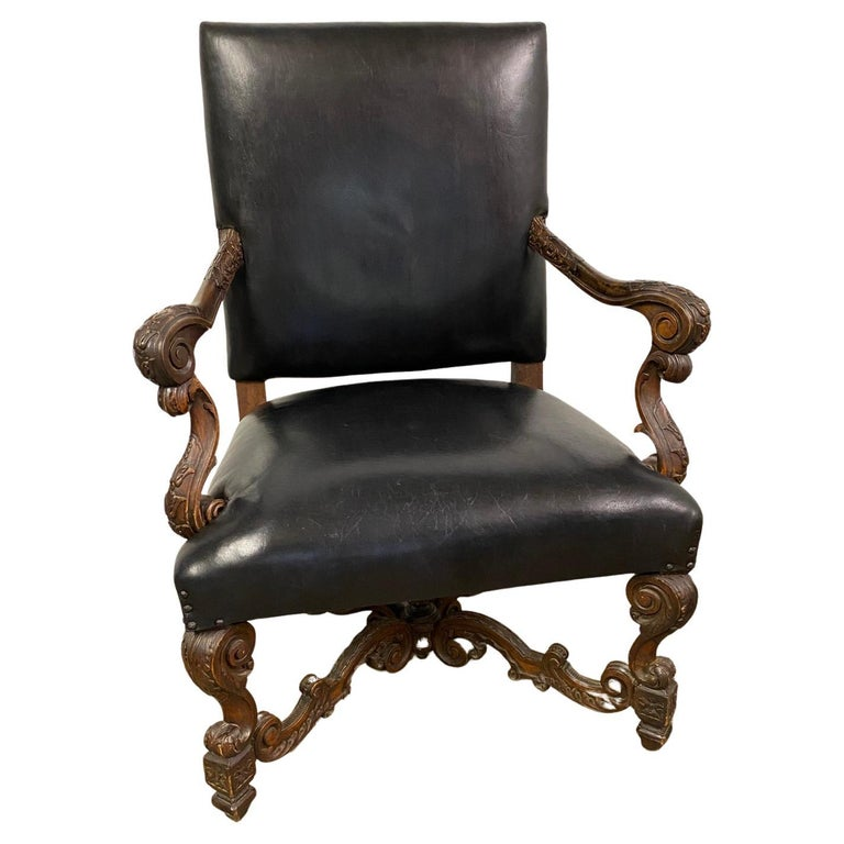 19th Century Italian Baroque Carved Walnut Throne Chair For Sale