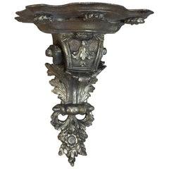 19th Century Italian Baroque Hand-Carved Wood Giltwood Corbel, Wall Shelf
