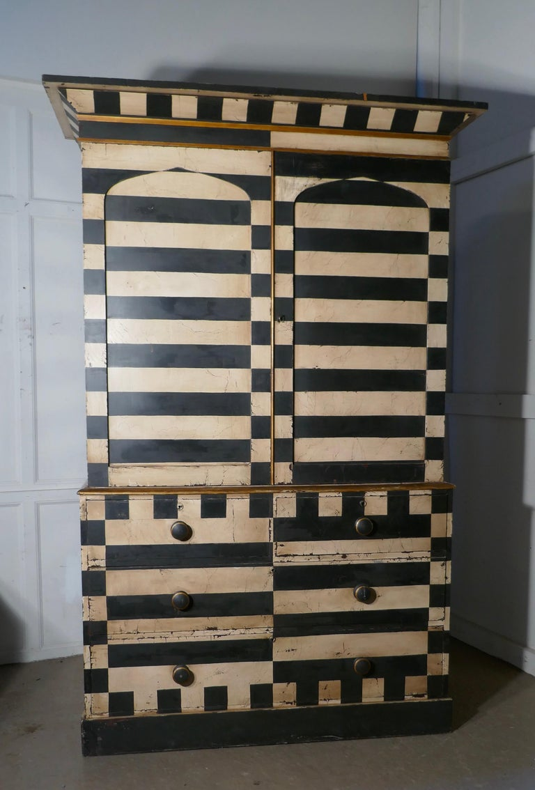 19th Century Italian Baroque Painted Linen Press, Distressed Paint 1