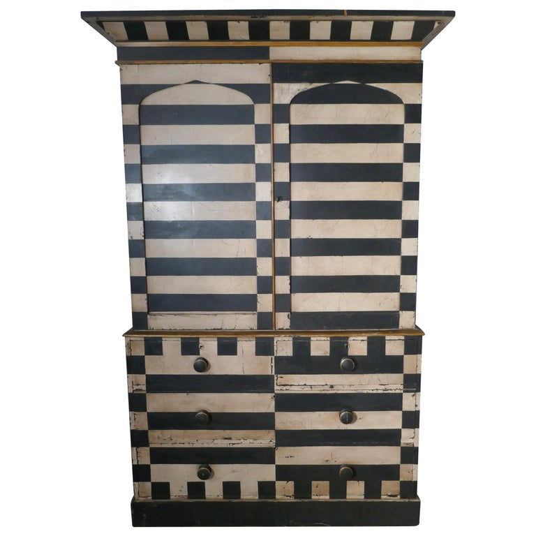 19th Century Italian Baroque Painted Linen Press, Distressed Paint