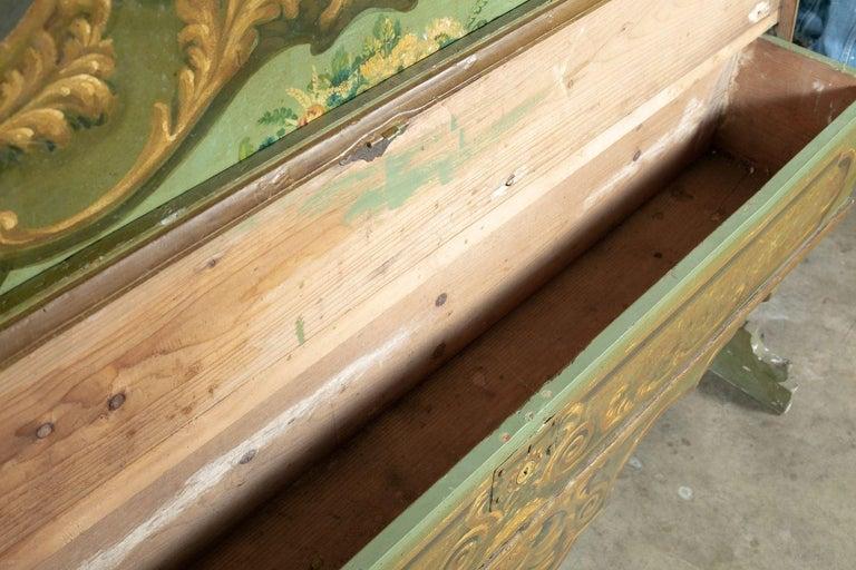 19th Century Italian Baroque Polychrome Cassapanca Wood Storage Hall Bench For Sale 7