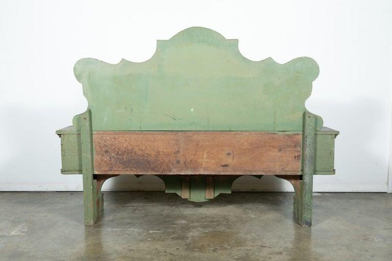 19th Century Italian Baroque Polychrome Cassapanca Wood Storage Hall Bench For Sale 11