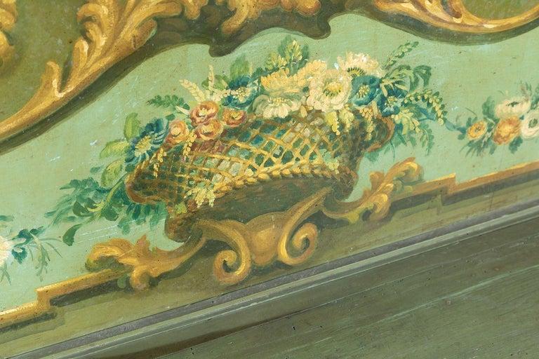 19th Century Italian Baroque Polychrome Cassapanca Wood Storage Hall Bench For Sale 3
