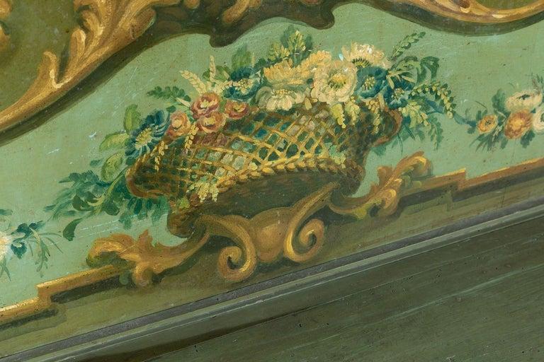 19th Century Italian Baroque Polychrome Cassapanca Wood Storage Hall Bench For Sale 4