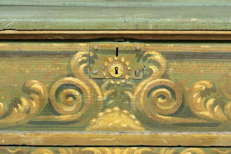 19th Century Italian Baroque Polychrome Cassapanca Wood Storage Hall Bench For Sale 5