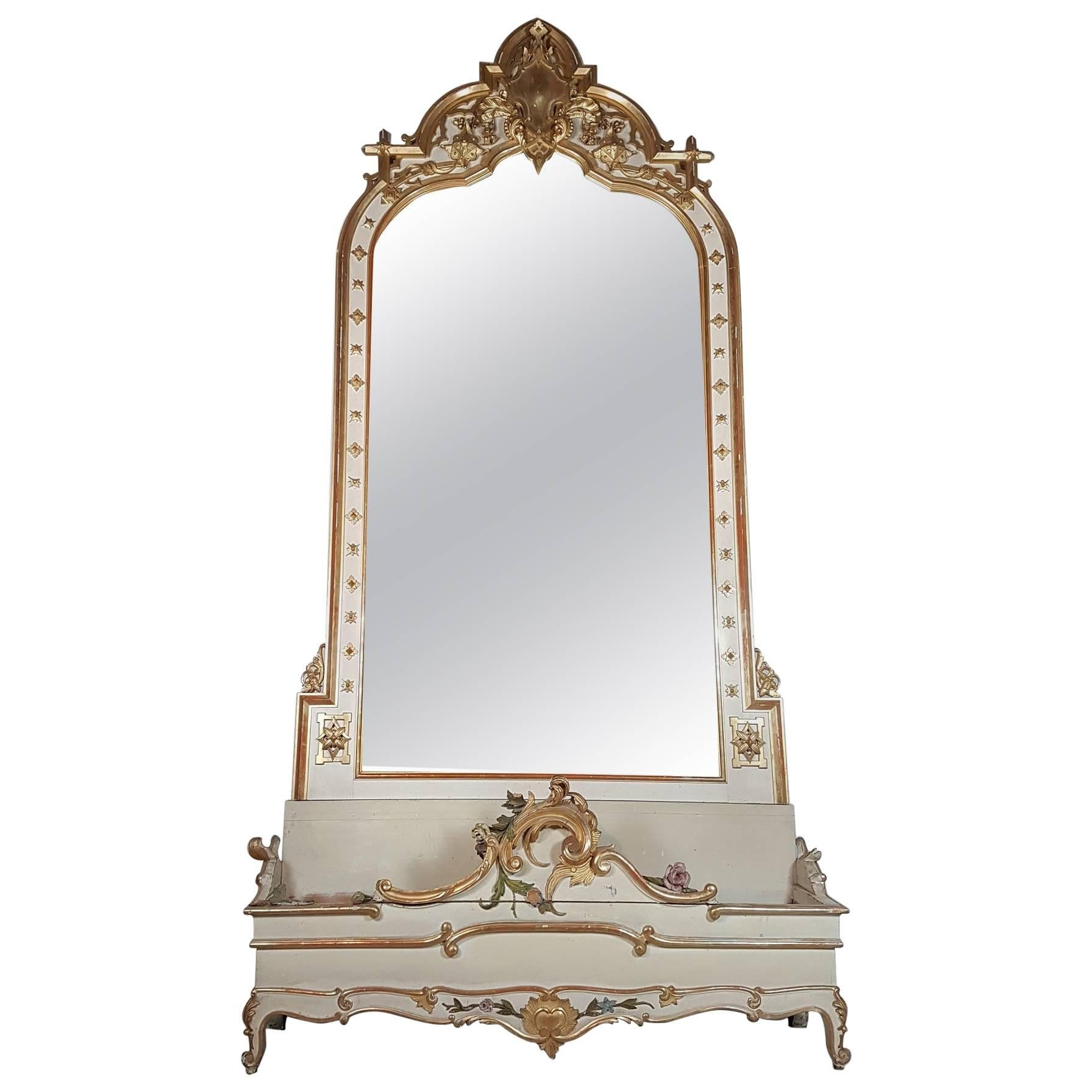 19th Century Italian Baroque Style Carved Lacquered Golden Wood Floor Mirror