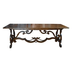 19th Century Italian Baroque Style Walnut Trestle Table