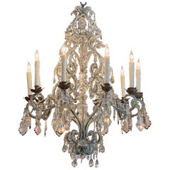 19th Century Italian Beaded Crystal 10-Light Chandelier
