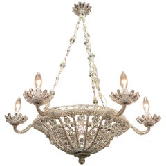 19th Century Italian Beaded Crystal 7-Light Basket Chandelier