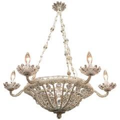 19th Century Italian Beaded Crystal 7-Light Basket Chandelier