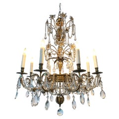 19th Century Italian Beaded Crystal and Gilt Metal Chandelier