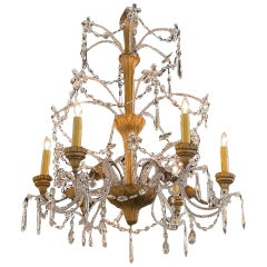 19th Century Italian Beaded Crystal and Giltwood Chandelier