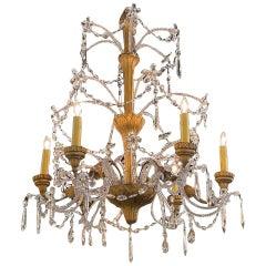 19th Century Italian Beaded Crystal and Giltwood Chandelier