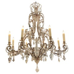 19th Century Italian Beaded Crystal Chandelier with 8 Lights