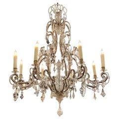 19th Century Italian Beaded Crystal Chandelier with 8 Lights