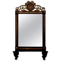 19th Century Italian Black and Giltwood Mirror
