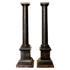 19th Century Italian Black Marble Model of Roman Columns Grand Tour Souvenirs