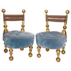 19th Century Italian Blue Velvet and Gilt Slipper Chairs