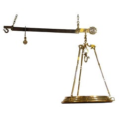 19th Century Italian Brass and Iron Restaurant Scale for Weighing Cheese