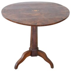 19th Century Italian Briar Root Walnut Inlay Center Table or Pedestal Table