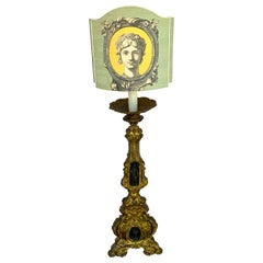 19th Century Italian Bronze Altar Candlestick, Custom Shade, Now Electrified