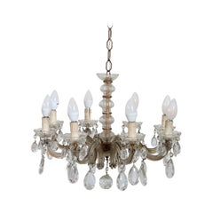 19th Century Italian Bronze and Crystals Chandelier