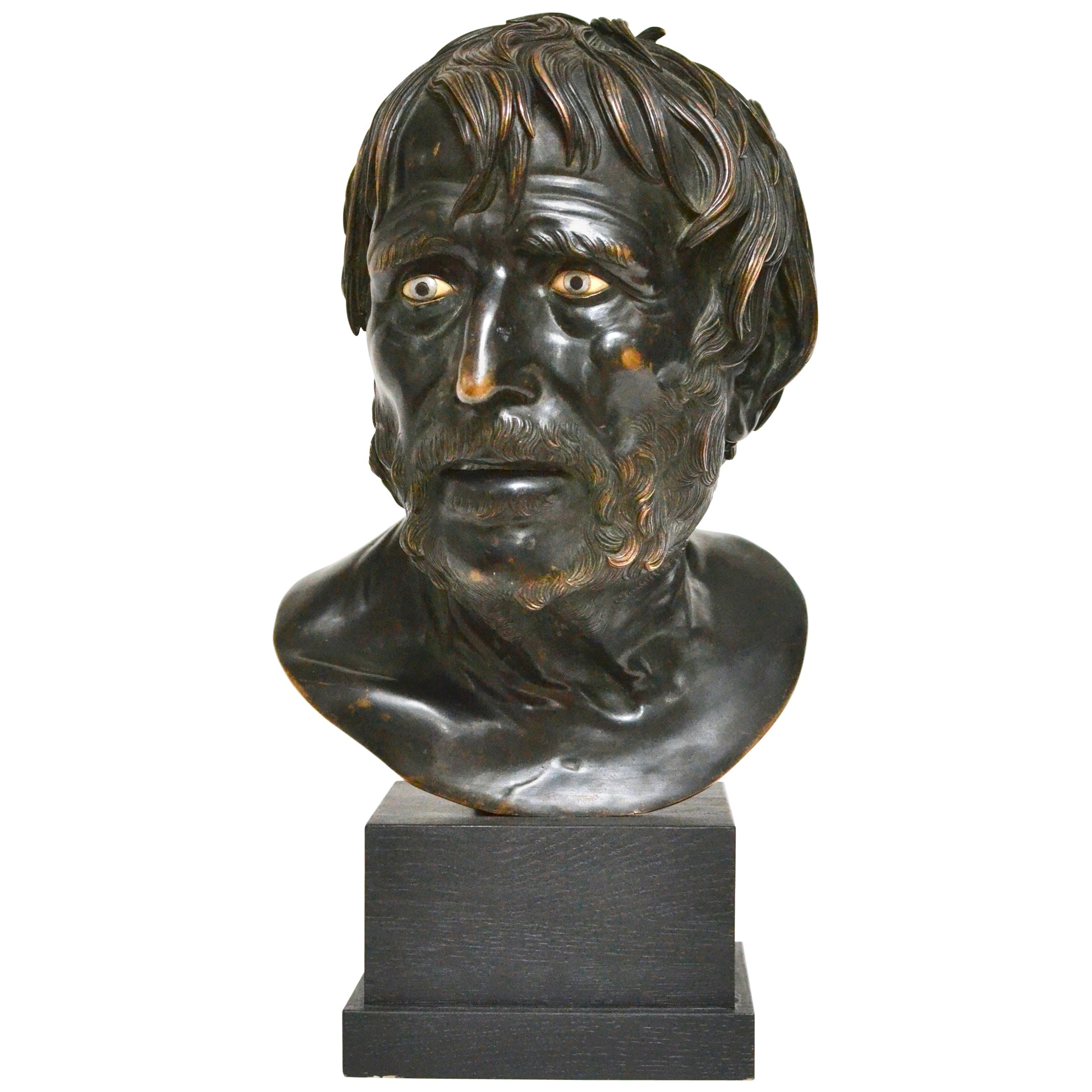 19th Century Italian Bronze Bust Study of Seneca