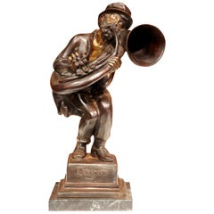 "19th Century Italian Bronze Jazz Player Sculpture ""L'usignuolo"" Signed A. D'Orsi"