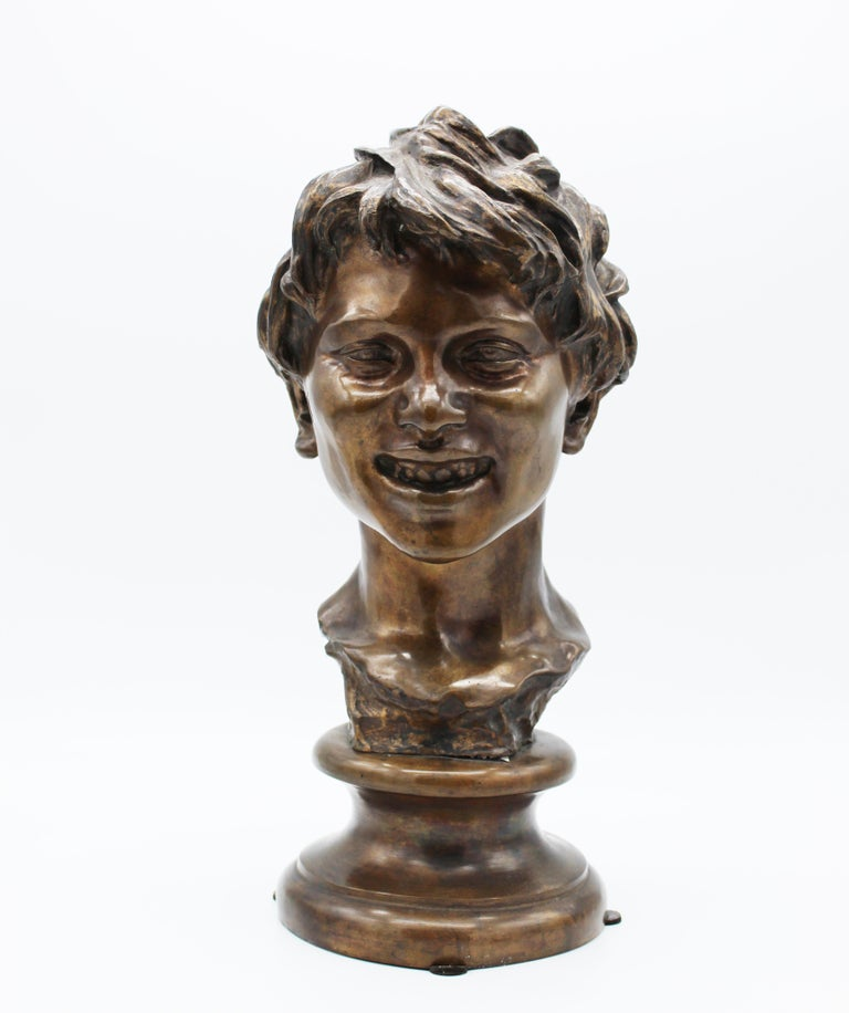 An impressive and iconic sculpture made and signed by Vincenzo Gemito, one of the most active and talented artist of 20th century; born in Naples but he was left alone by his mother the day after he was born so he was grown up in the Annunziata