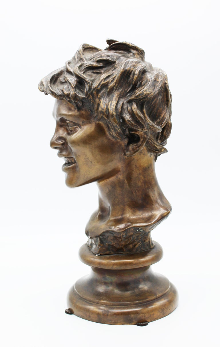 Neoclassical 19th Century Italian Bronze Sculpture of Young Boy Signed by Vincenzo Gemito
